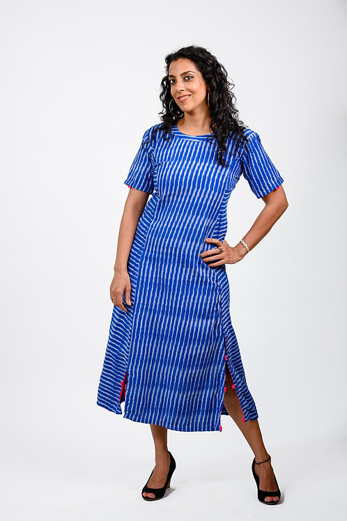 Electric Blue Ikat Dress