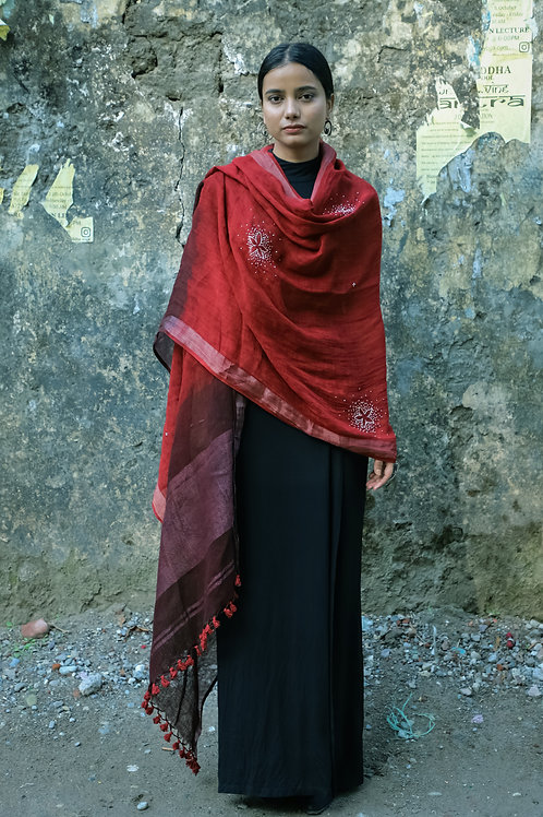 Jhilmil | Naturally Dyed Red Hand Embroidered Linen Odhani