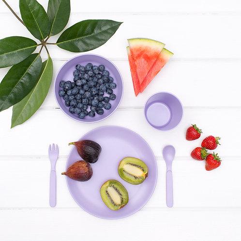Bobo & Boo Non-Toxic, 5 Piece Children's Bamboo Dinner Set - Lilac Purple