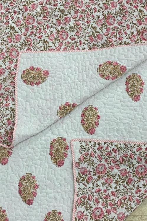Handblock Printed Reversible Bed Cover