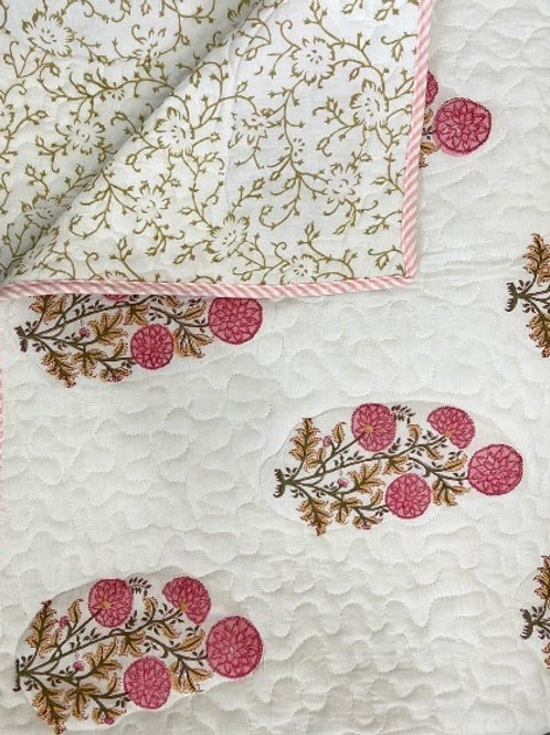 Handblock Printed Reversible Bed Cover