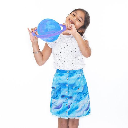 Cloudy Button-Up Skirt