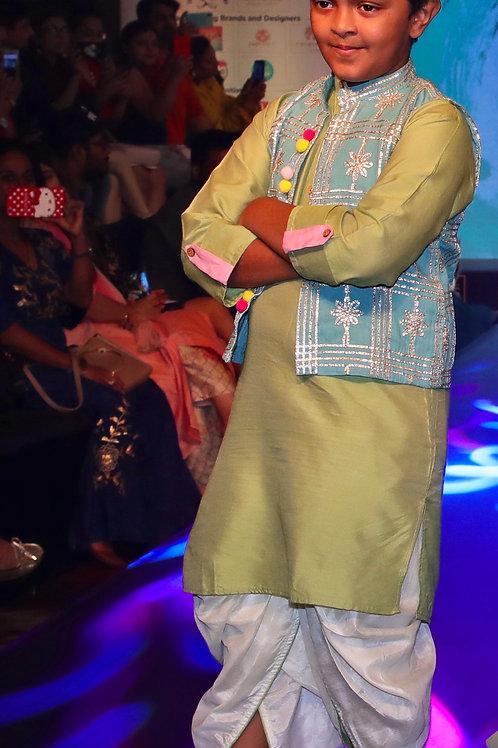 Cotton Silk Kurta With Blue Gota Jacket And Off White Silk Dhoti