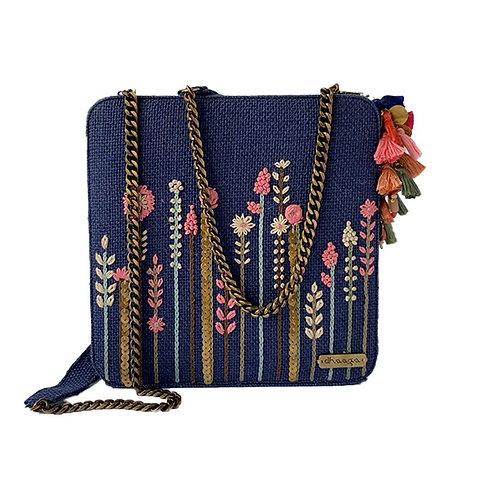 Dhaaga Handcrafts - Blue Embellished Box Clutch