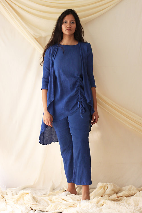 Asymmetric Tunic With Mock Overlay And Relaxed Fit Pants - Deana - Blue