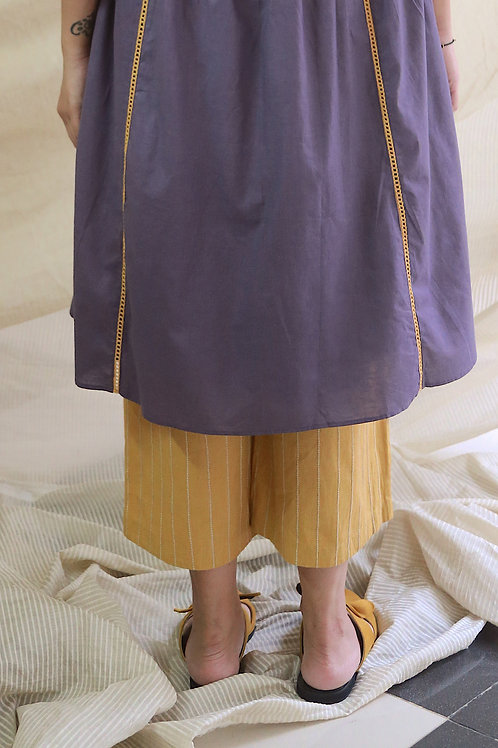 Mustard Linen Culottes With Checkered Embroidery