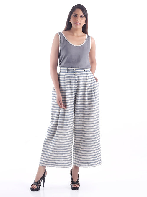 Sustainable Kala Cotton Blue Stripe Formal Baggy Pants