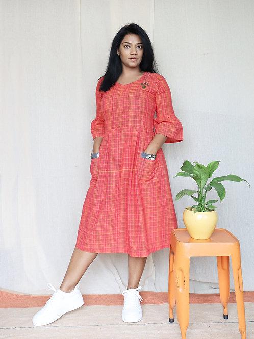 Orange and Pink Ikat Cotton Silk Maxi Dress