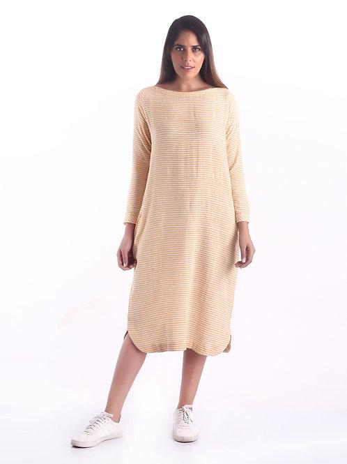 Sustainable Kala Cotton Mustard Stripe Kurta Dress