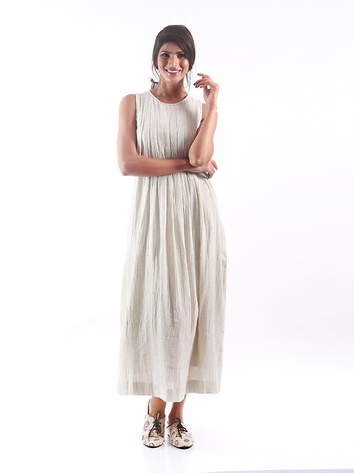 Sustainable Kala Cotton Stripe White Dress