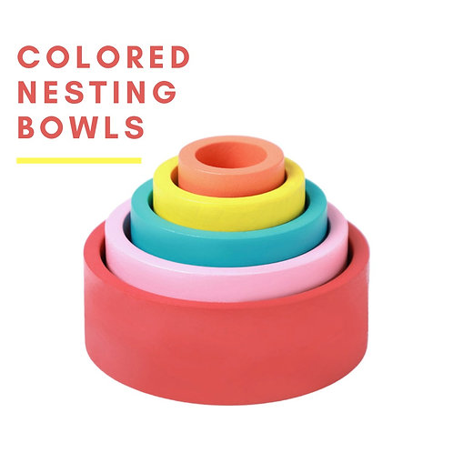 Wooden Nesting Bowl Colored