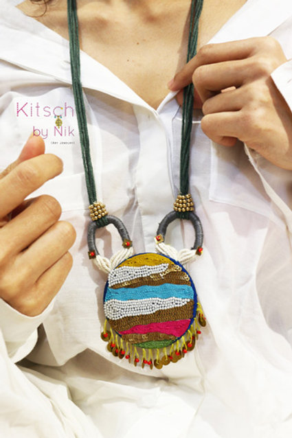 Hand Embroidered Textile necklace