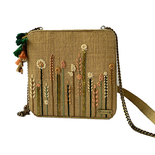Dhaaga Handcrafts - Natural Beige Embellished Box Clutch