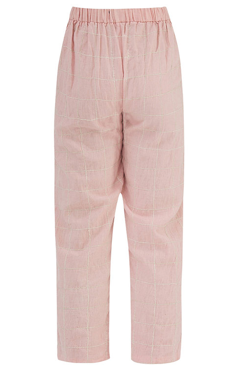 Straight Checkered Pants Pink