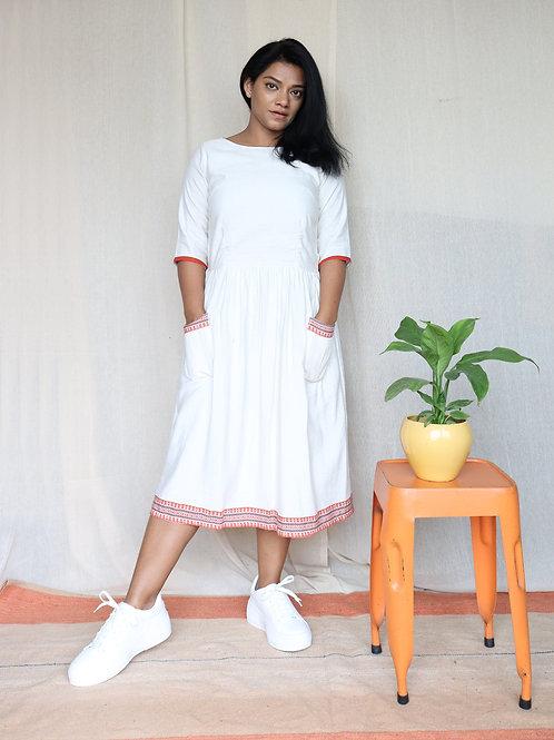 Off White Linen Cotton Midi Dress