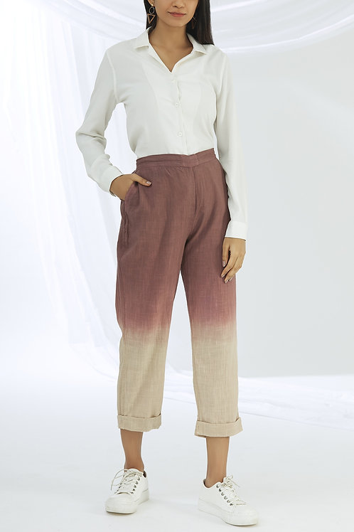 Ombre Dyed Cotton Straight Pants - Tan