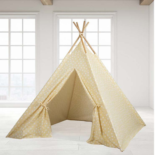 Teepee Tent -Yellow Base white dot