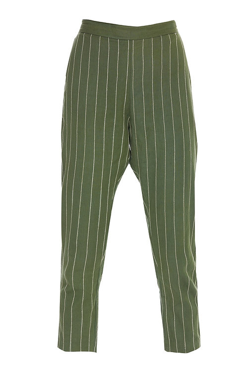 Straight Stripes Pants  Olive Green