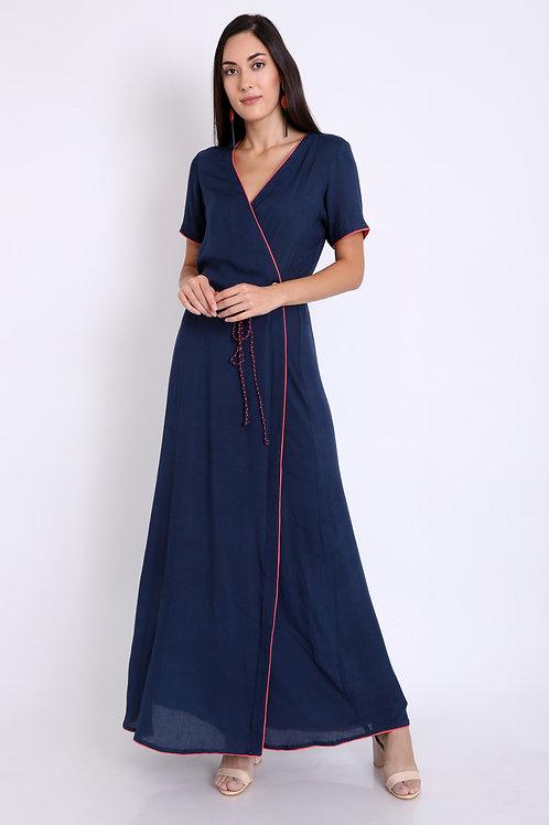 Navy Blue Braided Wrap Around Dress