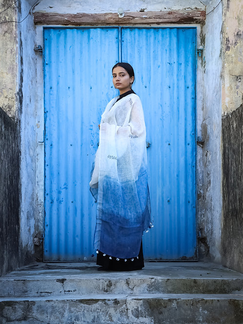 Waraq | Naturally Indigo Dip Dyed & Hand Embroidered Linen Odhani