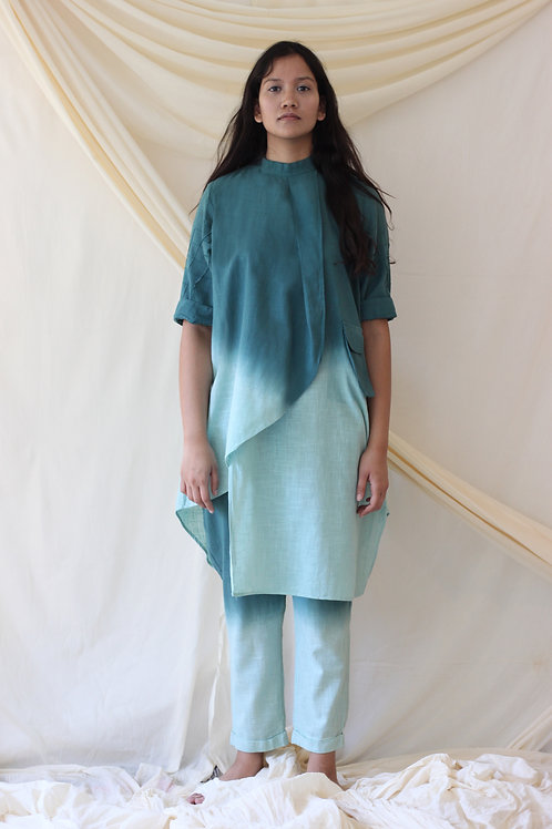 Ombre Dyed Front Overlap High Neck Tunic - Cecile - Green