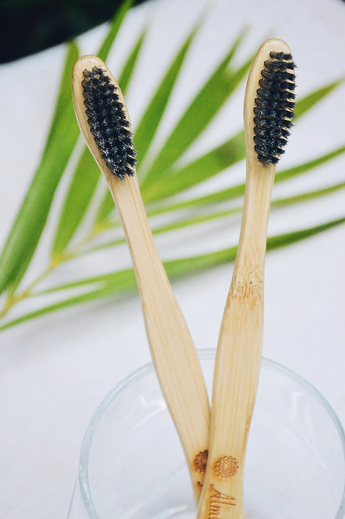 Bamboo Toothbrush – Charcoal (Pack of 2)