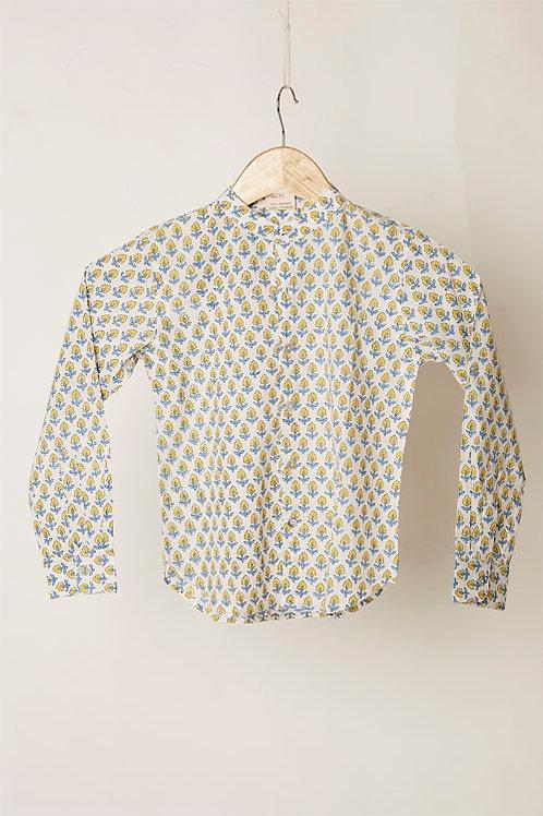 Yellow And Blue Block Print Boy's Shirt