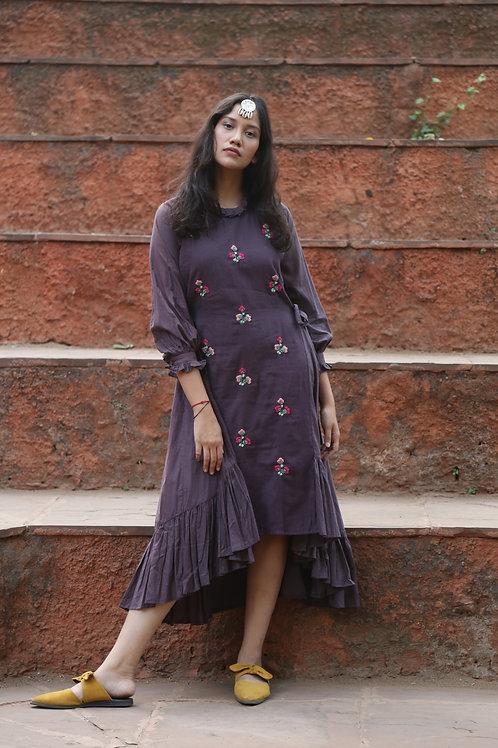 Purple Tie-up Dress