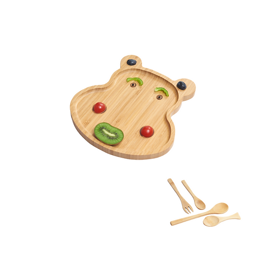 Wooden Feeding Set, Baby Weaning - Hippo Shaped Plate