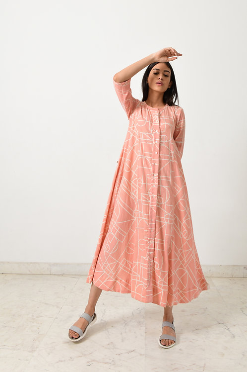 Block Printed Khadi Shell Button Dress