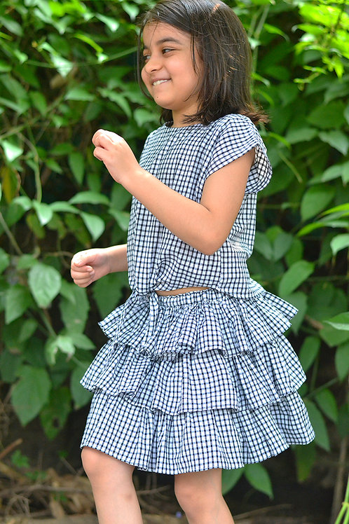 Handwoven checks coord top and twirly skirt