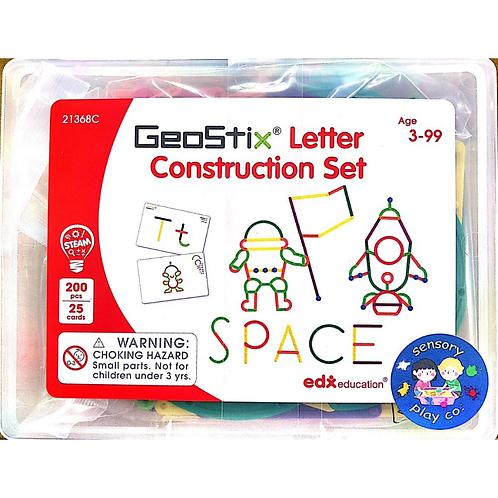 Geostix Letter Construction Set(200flexible Sticks,25Double-sided Activity Cards