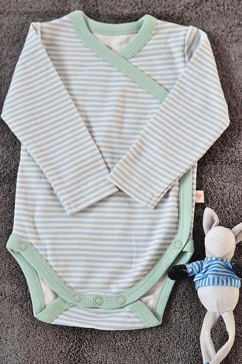 Mint Blue Striped Unisex Full Sleeve Kimono Onesie In Organic Cotton