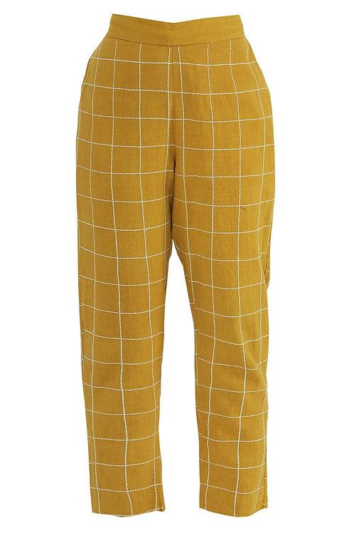 Straight Checkered Pants Mustard