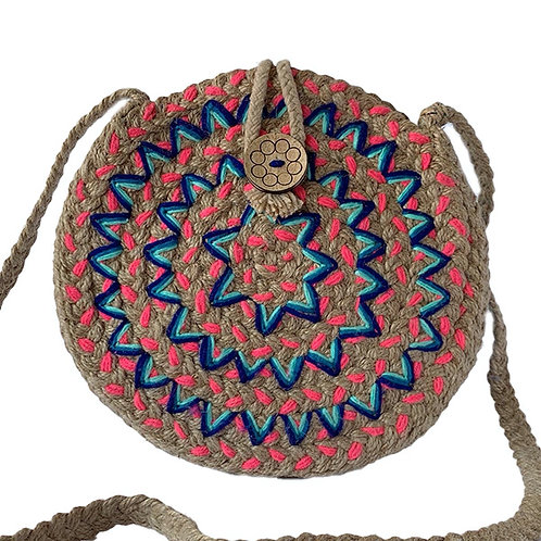 Dhaaga Handcrafts- Round Double Side Neon Blue Aztec Design & Shell Tassel Sling