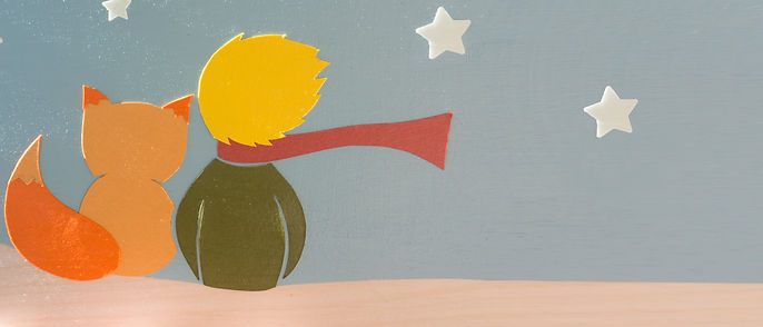 Little Prince watching the stars wood wall art