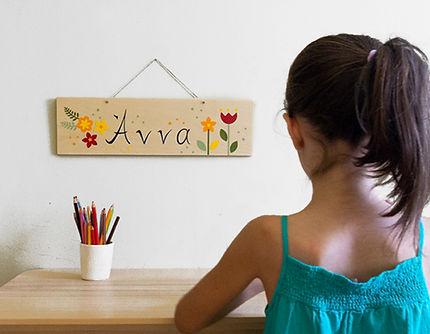 Custom floral wood sign