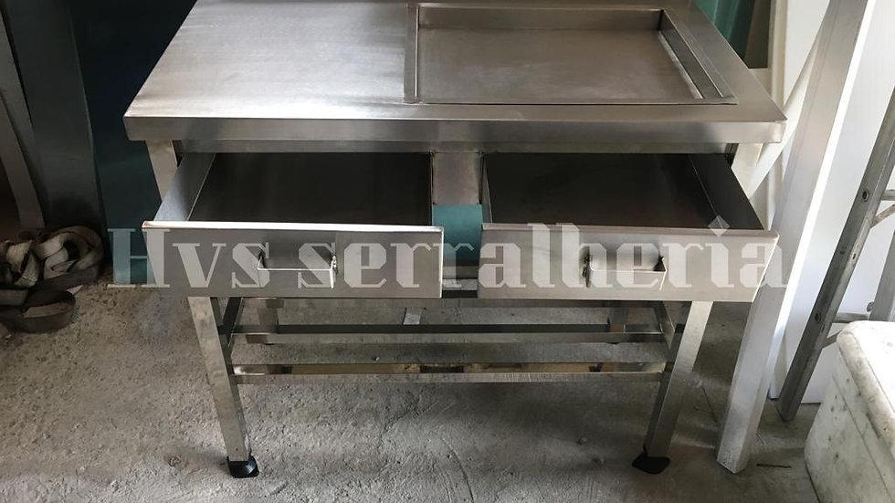 Mesa de cortar frango de aço inox