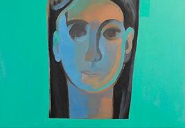 Donna su fondo verde, Tela di Giovanni Rizzo