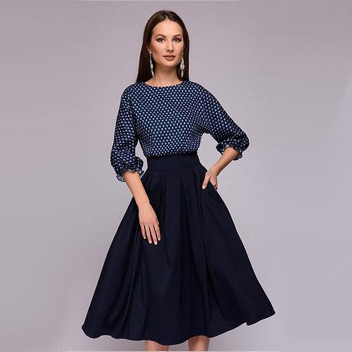 Women Vintage Dot A Line Dress Ladies Lantern Sleeve Knee-Length Dress 2018