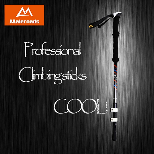 Maleroads Nordic Walking Stick Hiking Pole Carbon Fiber Adjustable Alpenstock