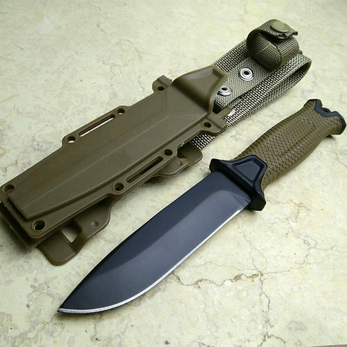 Brown Color Hunting Knife for camping tools Tactical knives Full or Serrated Fix