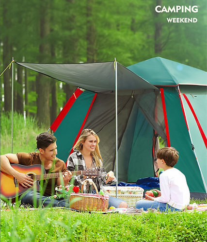 4-8 Person 280*200*120cm Big Size Camping Automatic Tent Waterproof Windproof