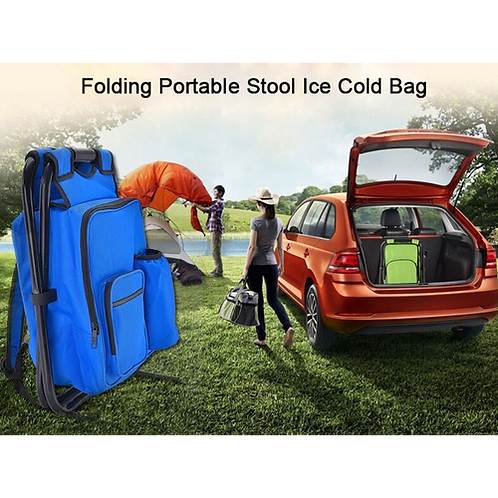 Outdoor Folding Portable Stool Ice Cold Bag Fishing Backpack Storage Cooler