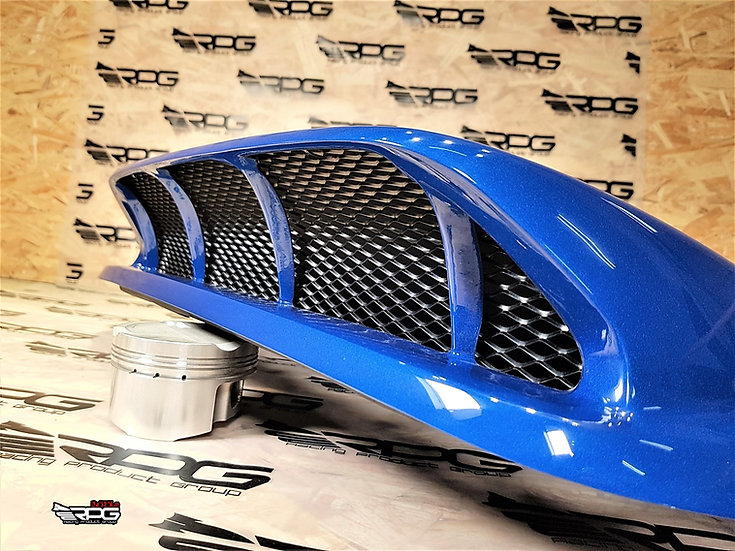 """Bugeye - STi Style Large 4"""" Mesh Grill Installed Blue Dividend Hood Scoop"""