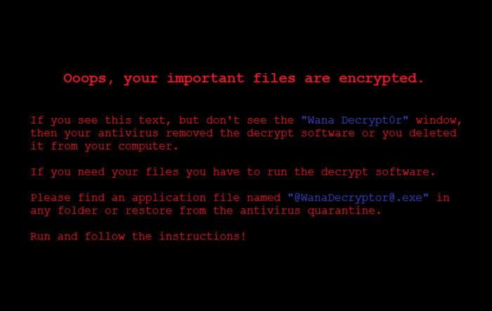 Wannacry ransom message.