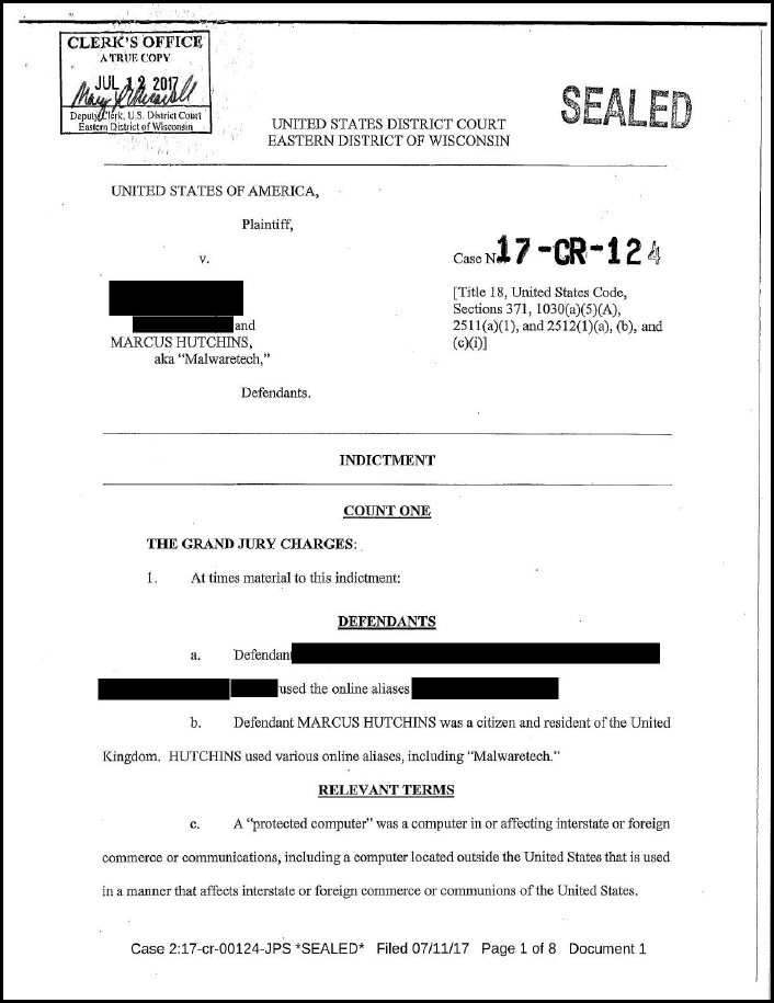 Indictment against Marcus Hutchins - page 1