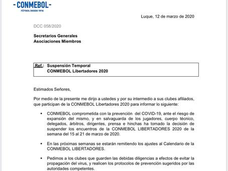 Coronavírus paralisa Libertadores.