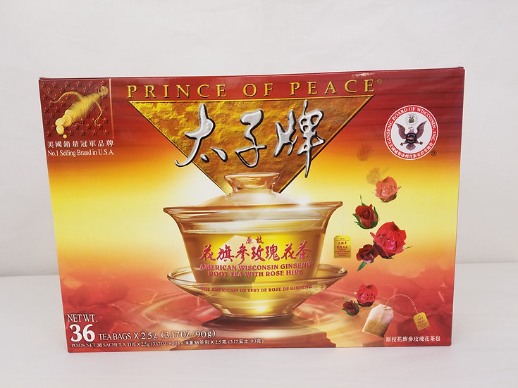 American Wisconsin Ginseng Root Tea With Rose (36 Tea Bags)