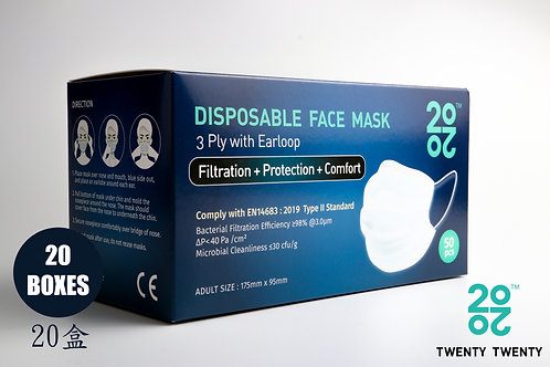 TWENTY TWENTY Disposable Face Mask-EN Type II-20 boxes (no logo)